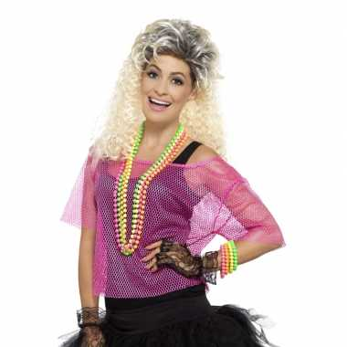 Carnavalskleding gaatjes shirt neon roze dames