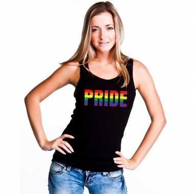 Gay mouwloos shirt pride regenboog letters zwart dames carnavalskledi