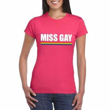 Gay pride lesbo shirt roze miss gay dames carnavalskleding den bosch