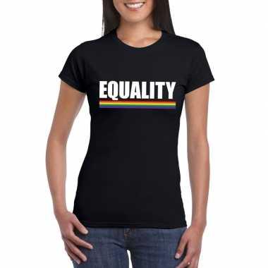 Gay pride lesbo shirt zwart equality dames carnavalskleding den bosch