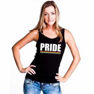 Gay pride lesbo tanktop shirt zwart pride dames carnavalskleding den