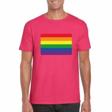 Gay pride/ lgbt shirt regenboog vlag roze heren carnavalskleding den