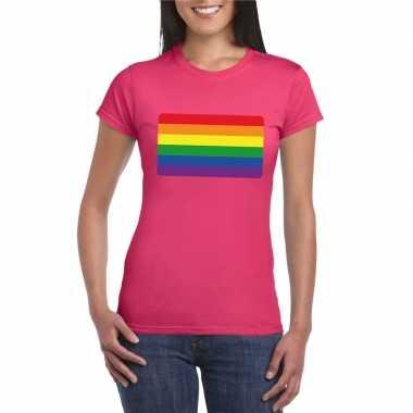 Gay pride/ lgbtshirt regenboog vlag roze dames carnavalskleding den b