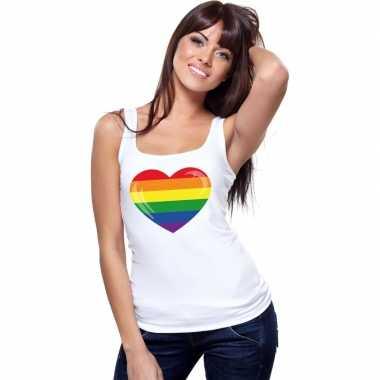 Gay pride mouwloos shirt regenboog vlag hart wit dames carnavalskledi