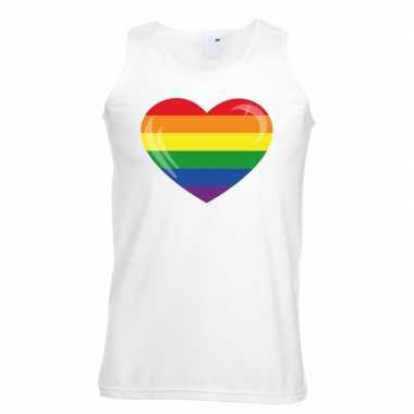 Gay pride mouwloos shirt regenboog vlag hart wit heren carnavalskledi