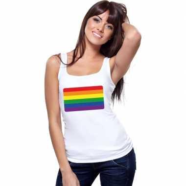 Gay pride mouwloos shirt regenboog vlag wit dames carnavalskleding de