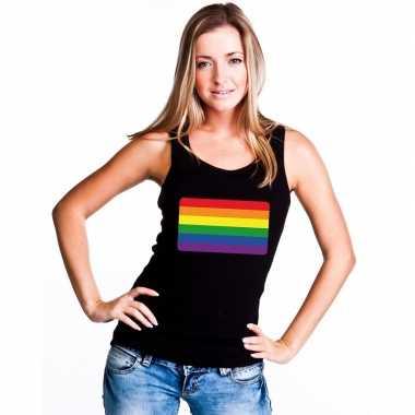 Gay pride mouwloos shirt regenboog vlag zwart dames carnavalskleding