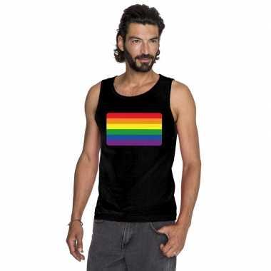 Gay pride mouwloos shirt regenboog vlag zwart heren carnavalskleding