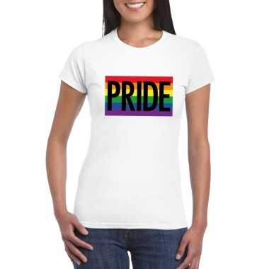 Gay pride regenboog shirt pride wit dames carnavalskleding den bosch