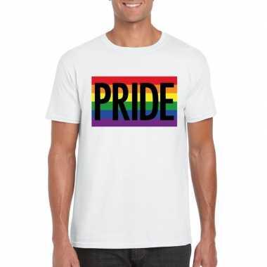 Gay pride regenboog shirt pride wit heren carnavalskleding den bosch