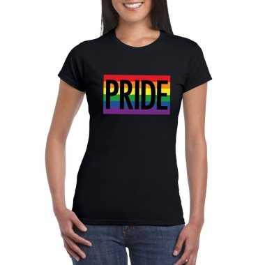 Gay pride regenboog shirt pride zwart dames carnavalskleding den bosc