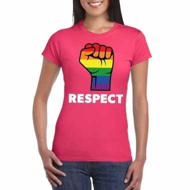 Gay pride respect lgbt shirt roze dames carnavalskleding den bosch
