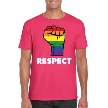 Gay pride respect lgbt shirt roze heren carnavalskleding den bosch