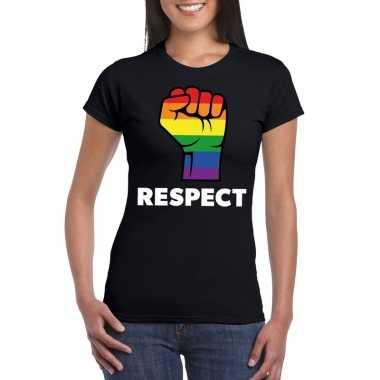 Gay pride respect lgbt shirt zwart dames carnavalskleding den bosch