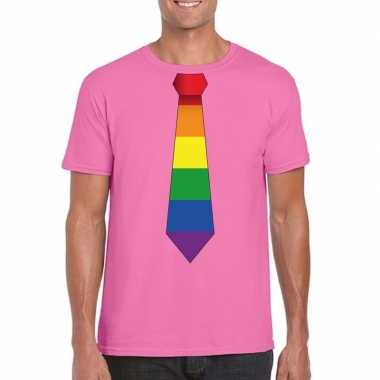 Gay pride shirt regenboog stropdas azalea roze heren carnavalskleding