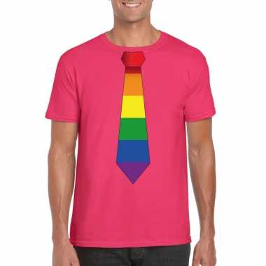 Gay pride shirt regenboog stropdas roze heren carnavalskleding den bo
