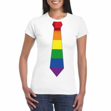 Gay pride shirt regenboog stropdas wit dames carnavalskleding den bos