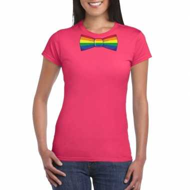 Gay pride shirt regenboog vlinderstrikje roze dames carnavalskleding