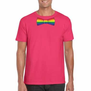 Gay pride shirt regenboog vlinderstrikje roze heren carnavalskleding