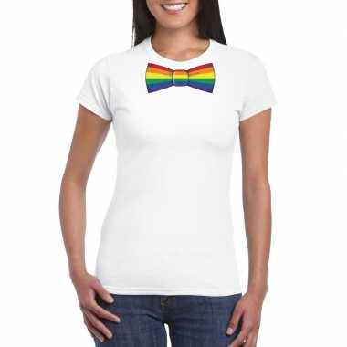 Gay pride shirt regenboog vlinderstrikje wit dames carnavalskleding d