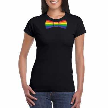 Gay pride shirt regenboog vlinderstrikje zwart dames carnavalskleding