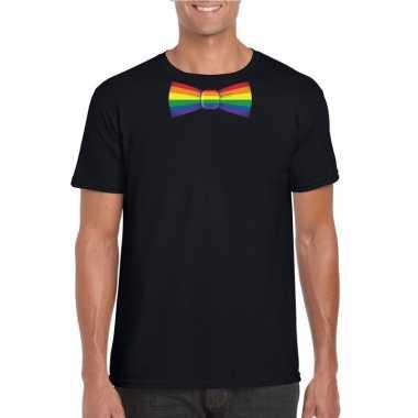 Gay pride shirt regenboog vlinderstrikje zwart heren carnavalskleding