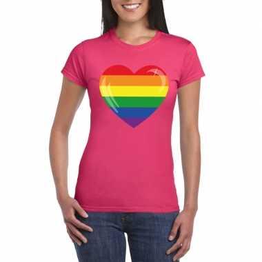 Gay pride t shirt regenboog vlag hart roze dames carnavalskleding den