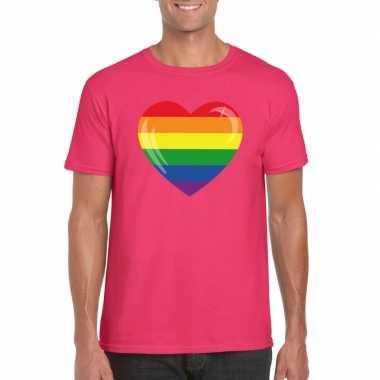 Gay pride t shirt regenboog vlag hart roze heren carnavalskleding den