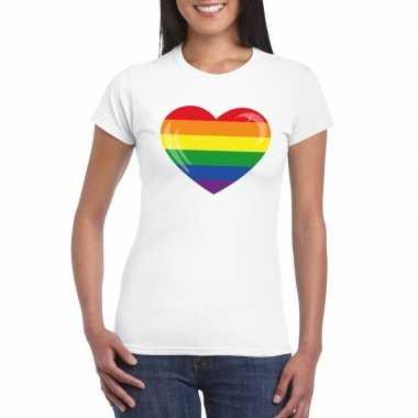 Gay pride t shirt regenboog vlag hart wit dames carnavalskleding den