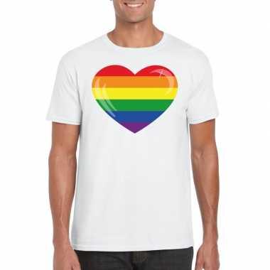 Gay pride t shirt regenboog vlag hart wit heren carnavalskleding den