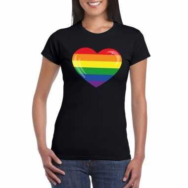 Gay pride t shirt regenboog vlag hart zwart dames carnavalskleding de