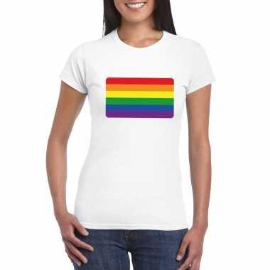 Gay pride t shirt regenboog vlag wit dames carnavalskleding den bosch