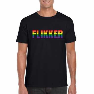 Gay shirt flikker regenboog letters zwart heren carnavalskleding den
