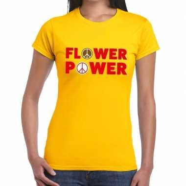 Geel flower power fun t shirt dames carnavalskleding den bosch