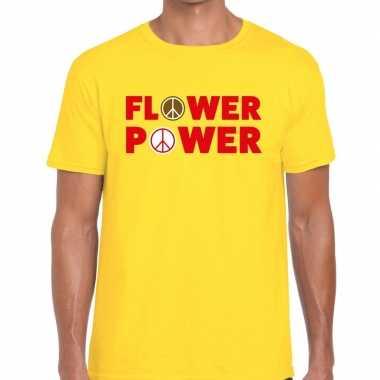 Geel flower power fun t shirt heren carnavalskleding den bosch
