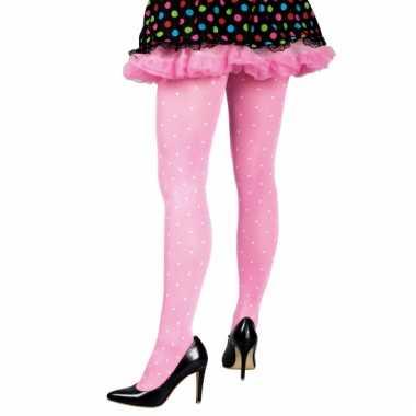 Gestipte dames panty roze carnavalskleding den bosch
