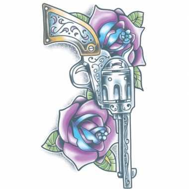 Geweer tattoo paarse rozen carnavalskleding den bosch