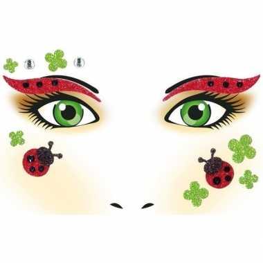 Gezicht tattoosticker lieveheersbeestje vel carnavalskleding den bosc