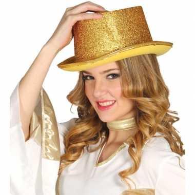 Carnavalskleding glitter hoge hoed goud