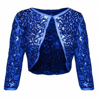 Glitter pailletten bolero blauw dames carnavalskleding den bosch