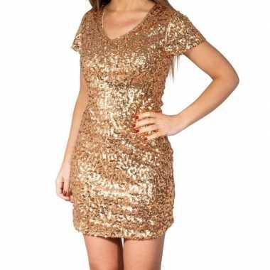 Glitter pailletten stretch jurkje goud dames carnavalskleding den bos