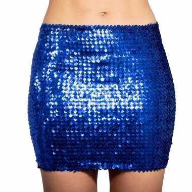 Glitter pailletten stretch rokje blauw dames carnavalskleding den bos