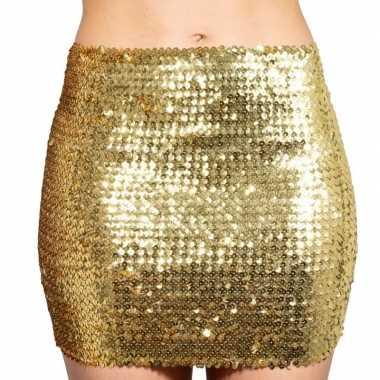 Glitter pailletten stretch rokje goud dames carnavalskleding den bosc