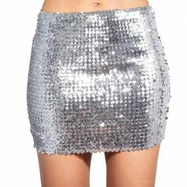 Glitter pailletten stretch rokje zilver dames carnavalskleding den bo