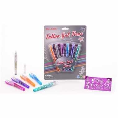 Carnavalskleding glittergel tattoo pennen stuks