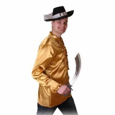 Carnavalskleding goud heren piraten overhemd