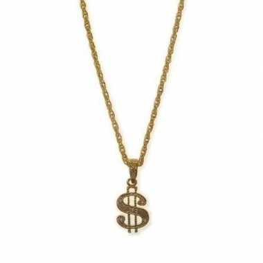 Gouden bling bling ketting dollar carnavalskleding bosch