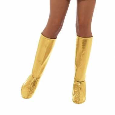 Gouden disco laarshoezen dames carnavalskleding bosch