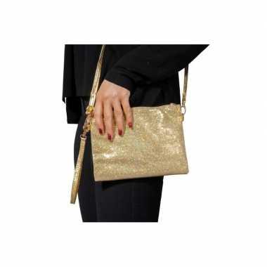 Gouden feest schoudertasje glitters carnavalskleding bosch
