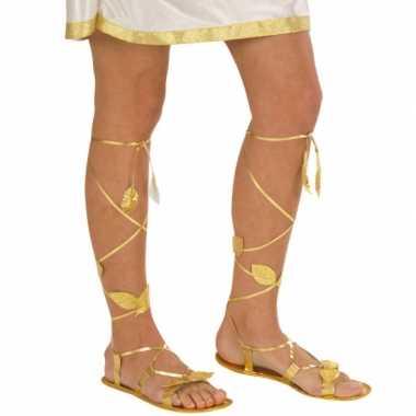 Carnavalskleding gouden sandalen volwassenen